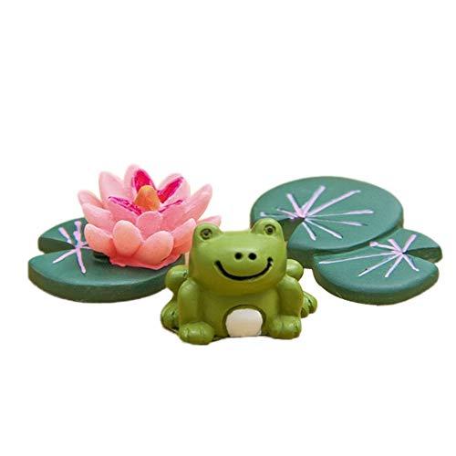 (Aland 3Pcs/Set Frog Lotus Leaf Miniature Landscape Decor Bonsai Resin Crafts Ornament)