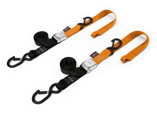 PowerTye 29629-S Black/Orange 1 1/2'' X 6ft Cam Buckle Soft-Tye Secure Latch Tie-Downs with Integrated Soft Hooks