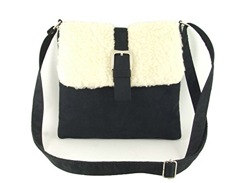 LONI Body Black Sheepskin Trim Bag Shoulder Cross Patent Cool qtUwr1t