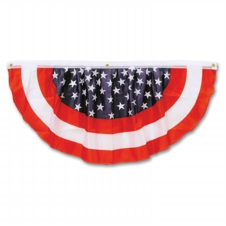 Beistle Party Decorations Stars & Stripes Fabric Bunting 4'- Pack of (Stars And Stripes Bunting)