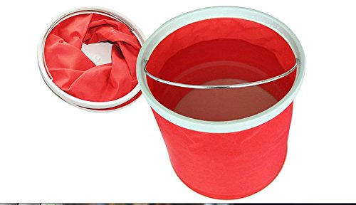 Longwood Handle (Collapsible Folding Water Bucket 9L 2.3 gallon Multifunctional for Fishing Camping Hiking Travel Gardening with Steel wire Handle Grip, Water Resistant Fabric, Ultra Portable Shape (Red))