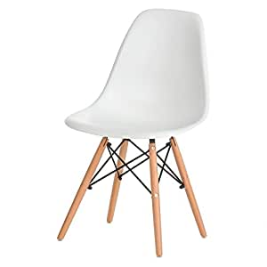 Side Chair, Decorative Mid Century Modern Stackable Eames Plastic Chair, White