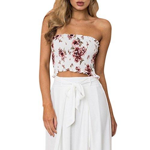 Lamolory Womens Blouses, Print Floral Elastic Boob Bandeau Tube Tops Bra Lingerie Breast Wrap (M, (Eyelet Bandeau)
