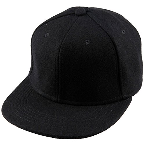 Samtree Unisex Woolen Baseball Cap,Winter Wide Brim Warm Snapback Hat (02-Black(Woolen)) - Black Flat Fitted Baseball Cap