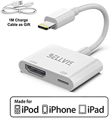 Jasain Digital HDMI Adapter Converter New Edition 2 in 1 Plug and Play Digital AV Connector Compatible with iPhone XR,iPhoneX//8//7//Plus iPad iPod