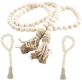 fairy maker Wood Bead Garland Set,3 pcs Farmhouse Rustic Country Beads with Tassles Wall Hanging Décor