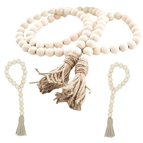 fairy maker Wood Bead Garland Set,3 pcs Farmhouse Rustic Country Beads with Tassles Wall Hanging Décor ()