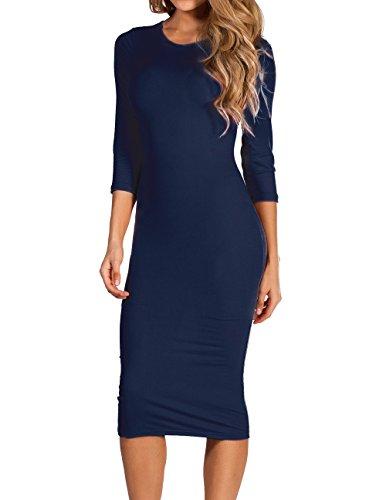 navy 3/4 sleeve midi dress - 1