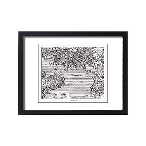 - Media Storehouse Framed 24x18 Print of Historical City map of Plymouth, Devon, England, Woodcut, published (18292275)