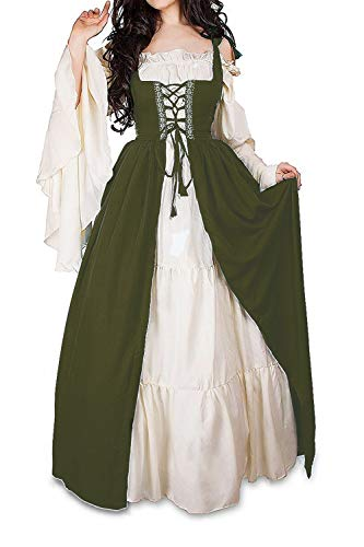 Abaowedding Womens's Medieval Renaissance Costume Cosplay Chemise and Over Dress (S/M, Olive)