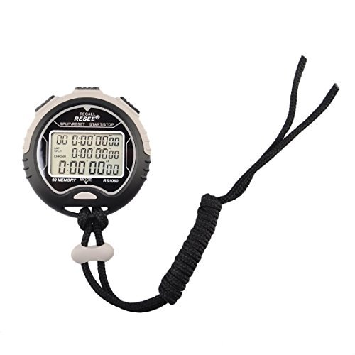 Stopwatch Timer Waterproof, Petforu Electronic Digital Stopwatch [60 MEMORY], Easy to Read Display