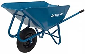 Jackson M6SNT 6 Cubic Foot Narrow Steel Tray Contractor Wheelbarrow With Front Braces & Steel Handles
