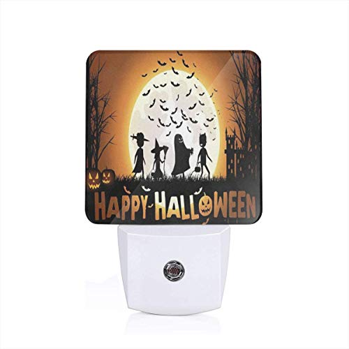 Trick-Or-Treating Halloween Bat Plug-in Night Light Warm White LED Nightlight with Auto Dusk to Dawn Sensor, Perfect for Kids Room, Hallway, Bedroom, Kitchen, Bathroom