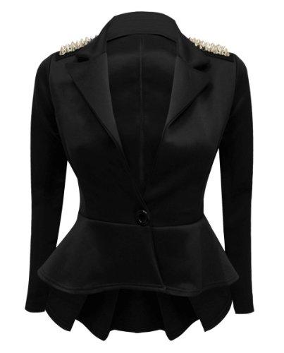 Clous À Derrière Femme Détail Long Volants Veste Modèle Noir Blazer Péplum Plissé wSUxUFzq