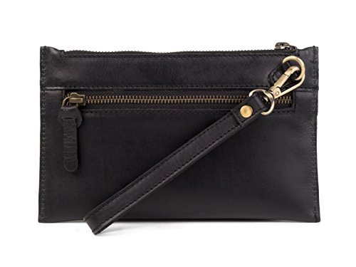 Dwellbee Leather Clutch Purse with Wristlet (Buffalo Leather, Black)