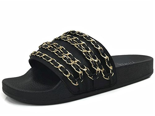 W Collection Soft Wells Willow Sandal Black Slip Slides Comfort Women's Chain On Flat Ppdqxwptr
