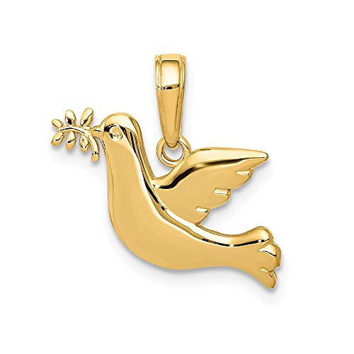 (14k Yellow Gold Polished Peace Dove Pendant )