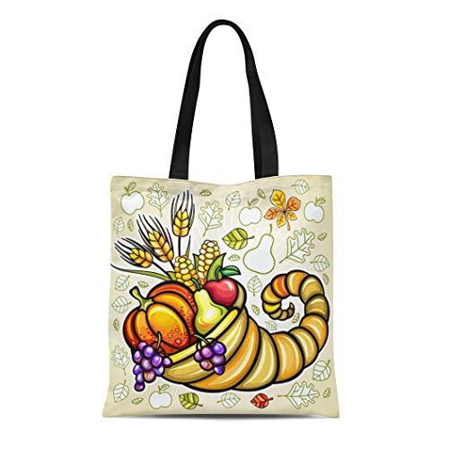 Semtomn Cotton Canvas Tote Bag Green Fruit Thanksgiving Harvest Cornucopia Orange Basket Food Day Reusable Shoulder Grocery Shopping Bags Handbag - Fruit Basket Holiday Greetings