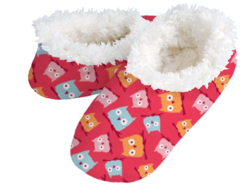 snoozies! Red Owls Women's Sherpa Footcoverings - SMALL