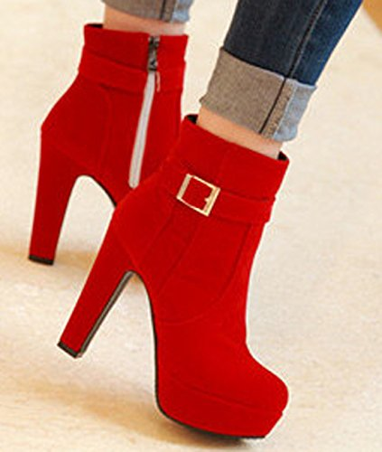 Red Ankle Ladies Side Heeled VECJUNIA High Artificial Buckle Suede Boots Zippers vC8wqwx