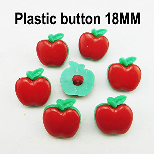 (Maslin 100PCS Fruit red Series Cartoon red Color Dyed Plastic Cartoon Buttons Kid Toy Button Sewing Clothes Accessory P-246 - (Color: 8))