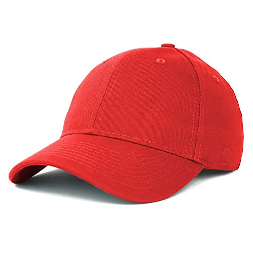 (Armycrew Made in USA Structured Firm Crown 100% Cotton Chino Twill Baseball Cap - Red)