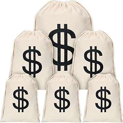 Robber Costumes Halloween (6 Pieces Dollar Sign Money Bag Canvas Drawstring Bag Halloween Robber Costume Bag for Halloween Cosplay Party Supplies)