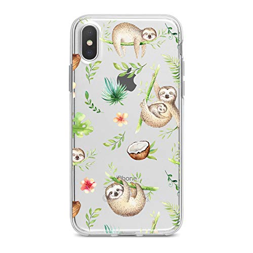 (Lex Altern TPU iPhone Animal Xs Max Case Xr X 8 Plus 7 6s 6 SE 5s 5 Gentle Leaves Green Pattern Apple Phone Cute Sloths Cover Silicone Tropical Print)