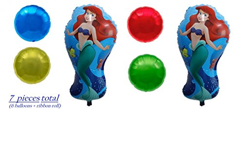 Disney Little Mermaid Party Balloons - Birthday Balloon Decorations - 2 Ariel & 4 Colorful Round - Under The Sea Theme Supplies - Helium Quality Decoration Bundle by Jolly Jon ® (2 Ariel & 4 Round)