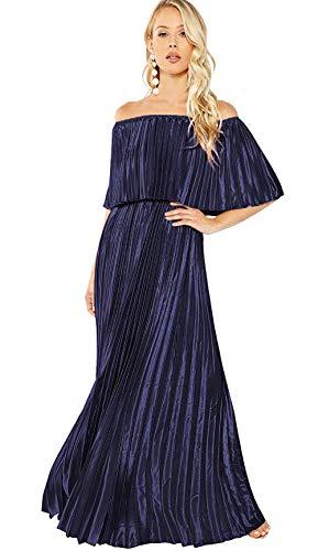 Milumia Women's Casual Off The Shoulder Layered Ruffle Party Beach Long Maxi Dress Dark Purple Medium
