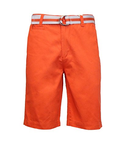 Short Fine Stripe (Galaxy by Harvic Men's 100% Fine Cotton Twill Flat Front Belted Shorts with Contrast Stripe - Mecca Orange, Size 38)