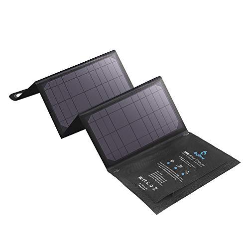 BigBlue 28W Cargador Panel Solar (5V/4.8A Total Máximo) Impermeable Placa Solar Plegable con 3 USB Puertos para Móviles…