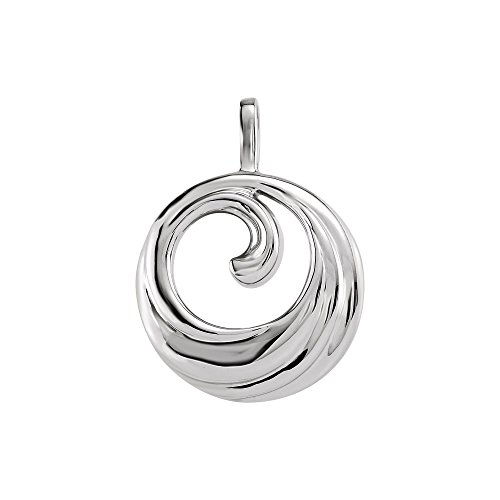 14K White Gold Wave Design Circle Pendant (Gold Design White Wave)