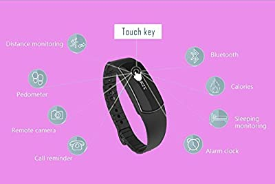 Honcuby Waterproof Fitness Tracker Smart Bracelet Touch Screen Activity Tracker Sleeping Monitor Calorie Pedometer Watch with Calling/Text Number Display for Sports Fitness,IOS 7.0+ and Android 4.3+