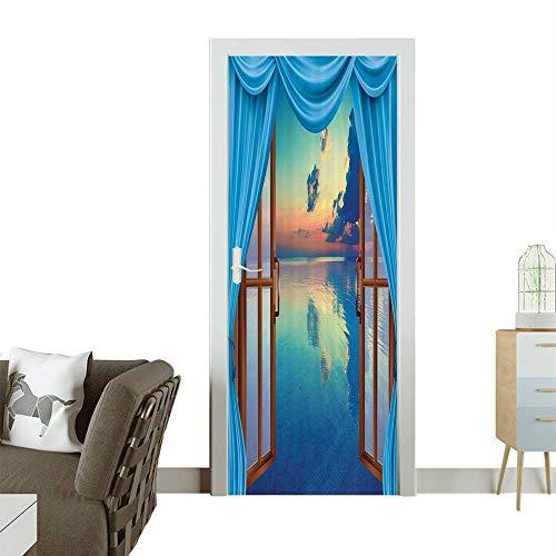 Door Art Sticker Valance Cloudy Sky Bathroom with Hooks Room decorationW17.1 x H78.7 INCH ()