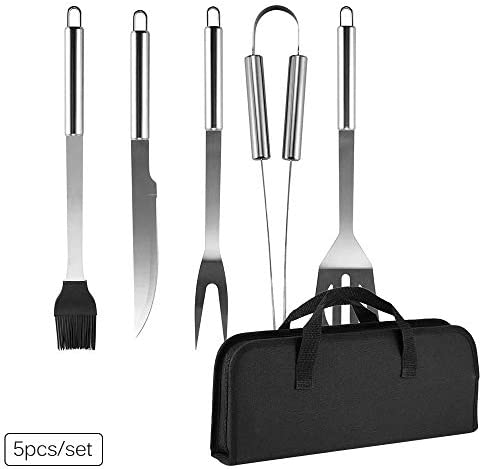 BBQ Grill Tool Set- Yougreast Stainless Steel Barbecue Grilling Accessories with Portable Storage Bag, Includes Spatula, Fork,Tongs, Basting Brush