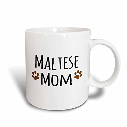 Blue Maltese - 3dRose (mug_154156_6) Maltese Terrier Dog Mom - Doggie by breed - muddy brown paw prints - doggy lover - pet owner mama - Two Tone Blue Mug, 11oz