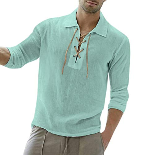 Men's Long Sleeve Shirts Beautyfine Baggy Cotton Blend Solid Color Turn-Down Collar Blouse Green