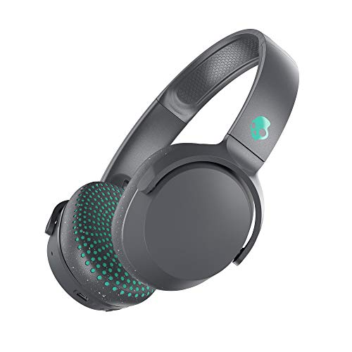 Skullcandy Riff Bluetooth On-Ear Headphones with Quick Charge 10-Hour Long Battery Life, BT Wireless Microphone, Foldable, Plush Ear Cushions with Durable Headband, Grey and Miami