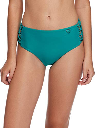 (Body Glove Women's Smoothies Retro Solid High Rise Strappy Bikini Bottom Swimsuit, Peacock, Large)