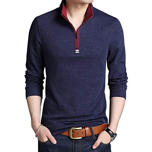- Wishere New Men's Fashion T-Shirt Cotton Long-Sleeved Polo Shirt