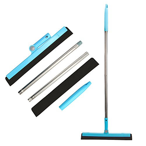 "KOLLIEE Floor Squeegee Adjustable Professional Water Squeegee Foam with 50"" Handle for Garage Tile Shower Hair Floor Wiper"