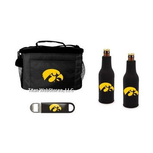 NCAA Iowa 6 Pack Cooler, Bottle Suit (2) & Opener Set   Iowa Hawkeyes Tailgating Set