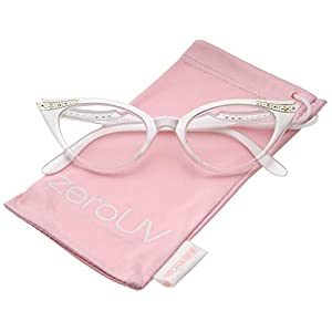 zeroUV - Women's Retro Rhinestone Embellished Clear Lens Cat Eye Glasses 51mm (White/Clear)