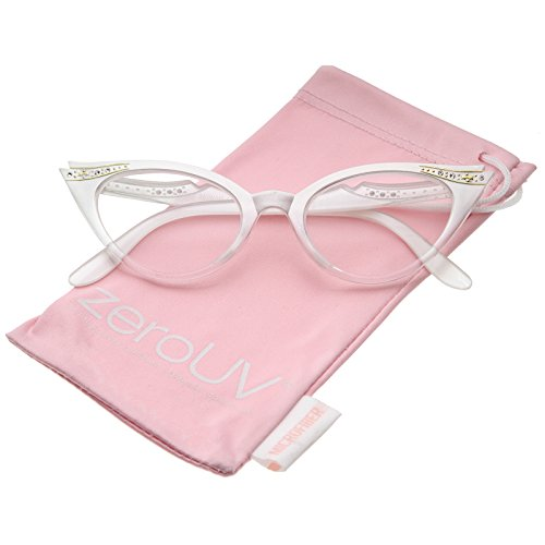 zeroUV - Women's Retro Rhinestone Embellished Clear Lens Cat Eye Glasses 51mm (White / Clear) (Fifties Cat Eye Rhinestone Glasses)