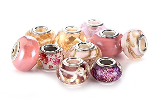 BRCbeads Top Quality 10Pcs Mix Silver Plate PINK THEME Murano Lampwork European Glass Crystal Charms Beads Spacers Fit Troll Chamilia Carlo Biagi Zable Snake Chain Charm Bracelets.