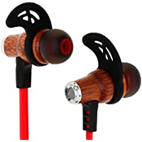 Symphonized NRG Bluetooth Wireless Wood In-ear Noise-isolating Headphones | Earbuds | Earphones with Mic & Volume Control (Red)