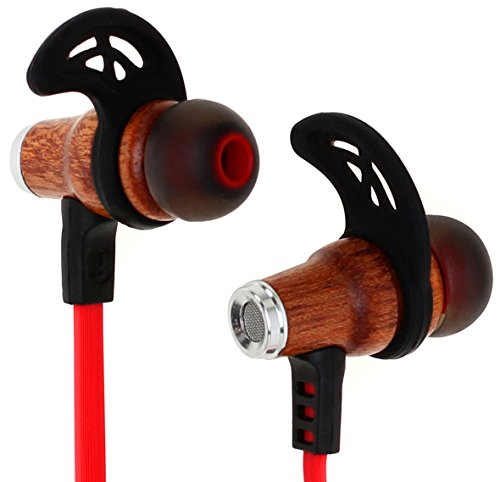 Symphonized NRG Bluetooth Wireless Wood in-Ear Noise-isolating Headphones, Earbuds, Earphones with Mic & Volume Control (Red)