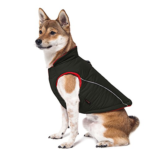 (GOOBY Cold Weather Fleece Lined Sports Dog Vest with Reflective Lining, Large, Black)
