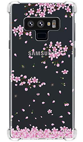 Galaxy Note 9 Case Cherry Blossoms, IiEXCEL Cute Falling Cherry Blossoms Pattern Clear Flexible TPU Bumper Protective Cover Case for Samsung Galaxy Note 9 (Pink White ()